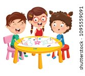 vector illustration of kids... | Shutterstock .eps vector #1095559091