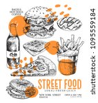 hand drawn fast food banner.... | Shutterstock .eps vector #1095559184