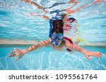 boy in mask  snorkel and... | Shutterstock . vector #1095561764