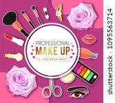 make up paper art background.... | Shutterstock .eps vector #1095563714