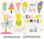 colorful summer elements... | Shutterstock .eps vector #1095565424