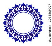 blue ornamental round, Decorative art frame, Abstract vector floral ornament border, porcelain pattern design. China blue and white