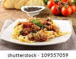 pasta with chunks of fresh tuna ... | Shutterstock . vector #109557059