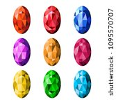 colorful gemstones isolated on... | Shutterstock .eps vector #1095570707