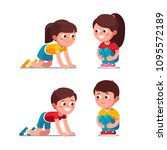 smiling preschool boys and... | Shutterstock .eps vector #1095572189