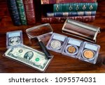 Coin Collection With On Table...