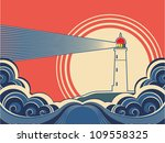 lighthouse with blue sea.vector ... | Shutterstock .eps vector #109558325