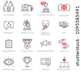 vector set of flat linear icons ... | Shutterstock .eps vector #1095585491
