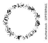 black musical notes on white...   Shutterstock .eps vector #1095589661