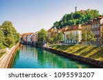 waterfront of ljubljanica river ... | Shutterstock . vector #1095593207