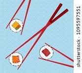 chopsticks holding sushi roll....   Shutterstock .eps vector #1095597551