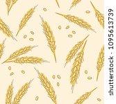 wheat ears seamless hand drawn... | Shutterstock .eps vector #1095613739