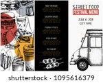 fast food sketch collection for ... | Shutterstock .eps vector #1095616379