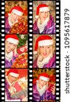 Small photo of Movie sequence of six portraits of a beautiful woman with a Santa Claus hat, with different expressions of joy, surprise, malice, enthusiasm, during the Christmas shopping
