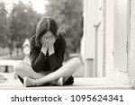 emotional young woman. pain.... | Shutterstock . vector #1095624341