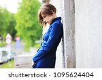 emotional young woman. sad girl.... | Shutterstock . vector #1095624404
