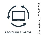recyclable laptop icon. flat...