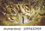 boy standing and looking at... | Shutterstock . vector #1095632909