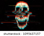 Digital Glitch Screaming Skull...