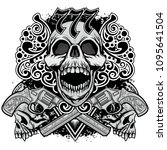 cowboys coat of arms with skull ...   Shutterstock .eps vector #1095641504