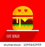 cute burger with feeling in... | Shutterstock .eps vector #1095642959