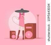 vector singer flat style...   Shutterstock .eps vector #1095643034