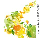 Orange and lime juice splash with abstract wave, vector illustration - stock vector