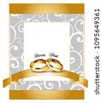 vector golden wedding rings.... | Shutterstock .eps vector #1095649361