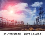 high voltage  power lines at... | Shutterstock . vector #1095651065