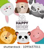 happy birthday card with cute... | Shutterstock .eps vector #1095657011