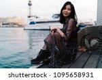 beautiful glamorous asian... | Shutterstock . vector #1095658931
