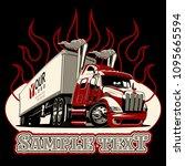 vector cartoon semi truck...   Shutterstock .eps vector #1095665594