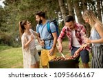 group of young people enjoying... | Shutterstock . vector #1095666167
