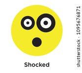 shocked icon isolated on white... | Shutterstock .eps vector #1095676871