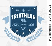 modern triathlon badge emblem... | Shutterstock .eps vector #109568321