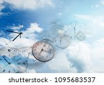 clocks in blue sky. time flies | Shutterstock . vector #1095683537