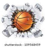 basketball and old plaster wall ... | Shutterstock .eps vector #109568459