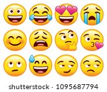 vector set of cute emojis... | Shutterstock .eps vector #1095687794