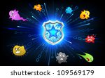 illustration of shield protecting from virus attack - stock vector