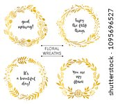 gold flower wreaths card with... | Shutterstock .eps vector #1095696527