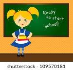 cute blonde girl in uniform... | Shutterstock .eps vector #109570181