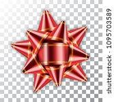 red bow ribbon 3d decor element ... | Shutterstock .eps vector #1095703589
