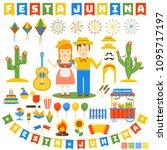 festa junina icons set. flat...   Shutterstock .eps vector #1095717197