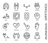 set of 16 simple editable icons ... | Shutterstock .eps vector #1095724421