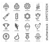 Set Of 16 simple editable icons such as Hamsa Hand, Jewish Incense, Muslim Tasbih, Qibla, Chicken, Kalasha, Four Species, Laver of Washing, Ganesha can be used for mobile, web UI, pixel perfect icons