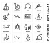 set of 16 simple editable icons ... | Shutterstock .eps vector #1095726155