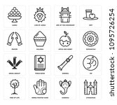 Set Of 16 simple editable icons such as Synagogue, Ganesha, Henna painted hand, Tree of Life, Om, Shehnai, Torah Book, Israel Barley, Sufganiyah can be used for mobile, web UI, pixel perfect icons