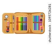 school pencil case with various ... | Shutterstock .eps vector #1095726281