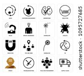 set of 16 simple editable icons ... | Shutterstock .eps vector #1095727685