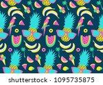 summer pattern. watermelon ... | Shutterstock .eps vector #1095735875